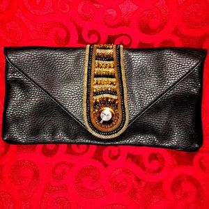 Big Buddha clutch black leather w/beading